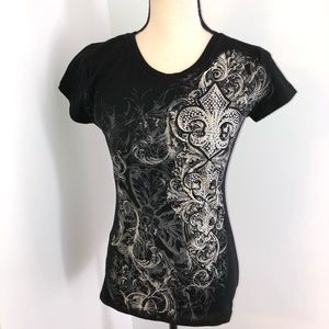 NWT Ejel black fitted rhinestone embellished tee L